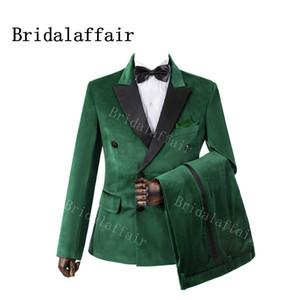 Bridalaffair 2 Parça Yeşil Kadife Düğün Groomsmen Smokin Siyah Zirve Yaka Slim Fit Custom Made Akşam Parti Erkekler Suits 201014