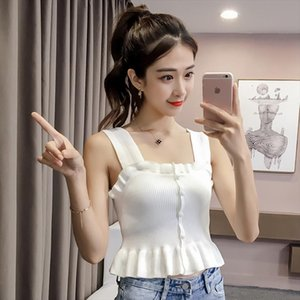 Women Knitting Ruffles Buttons Cropped Tanks Tops Girls Knit Sexy Chic Tee shirts Camis crop Top for Female Summer JH297