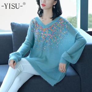 Yisu suéter de lã capuz moda Outono Inverno 2020 Mulheres Sweater Lantejoula decoração Oversize capuz Casual Mohair