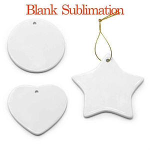 DHL Ship Blank White Sublimation Ceramic pendant Creative Christmas ornaments Heat transfer Printing DIY ceramic ornament heart round decor