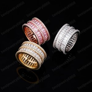 12MM High Quality Iced Out Cubic Zirconia Stones Ring Gold Silver Color Hip Hop Rock Fashion Jewelry For Men Women Gift
