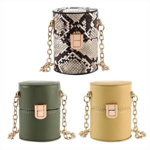 Mini Cylinder Shaped Shoulder Messenger Handbags for Women INS Snake Print PU Crossbody Bags with the Bucket Evening siste