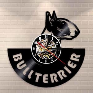 İngiliz Bullterrier Vinil Tutanak Sessiz Duvar Saati Köpek Spiral Timepiece Köpek Doggie Pet Duvar İzle Bull Terrier Sahibi Hediye