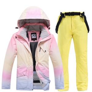 النساء البدلة سترة + السراويل المرأة الشتاء تنفس الرياضة الدافئة للماء أندبروف التزلج و snowboarding الدعاوى مجموعة التزلج