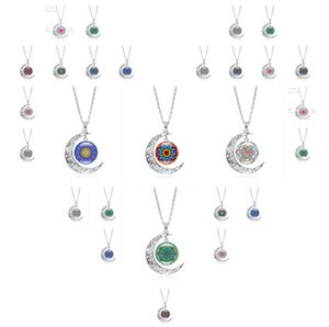 Mandala Flower Time Gemstone Necklace Silver Half Moon Pendant DMFN197 (with chain) mix order Pendant Necklaces