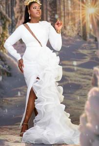 2020 Plus Size Arabic Aso Ebi Stylish Mermaid Sexy Wedding Dresses Long Sleeves Bridal Dresses High Split Wedding Gowns ZJ336