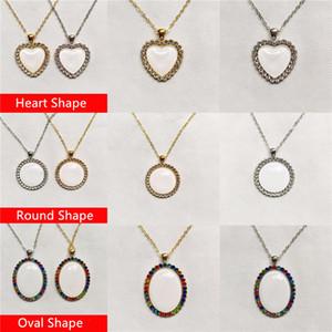 Moda stili! Süblimasyon Kolye Isı Transferi Kristal Kolye Özel Boş Metal Kolye Sevgililer Hediye Takı Hatıra Mevcut A12
