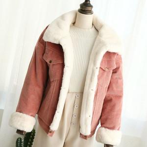 Autumn Winter Female Wool Lining Women's Jacket with 4 Pockets Bomber Outwear Ladies Warm Basic Corduroy Coat 2020 New