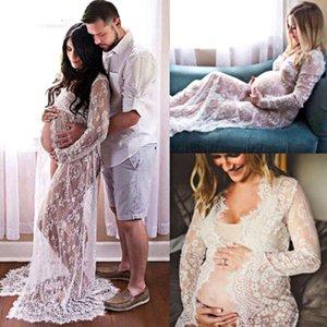 Été enceinte dentelle robe femmes frontale front fragment longue maxi maternité maternité blackwhite robe de dentelle robe