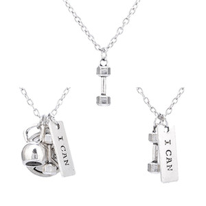 Jolie collier d'haltère Barbell Gym Sport Fitness Poids Colliers Magnifiquement bijoux Sports Croyance Puissance Charm Collier 60 K2