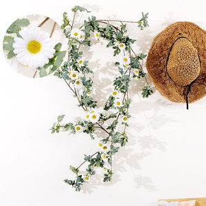 175cm silk artificial daisy vine hanging flowers rattan fake plants Green leaves garland For wedding home Wall Garden decoration