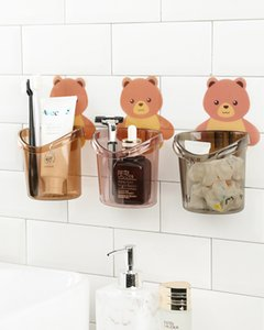 Wall-mounted Bear Toothbrush Holder A Hot Seller Creative Unmarked Storage Holder Home Toothbrush Bathroom Without Perforated Holder