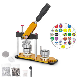 Button Maker 58mm Rotate Button Badge Machine with 100 Sets Circle Parts Punch Press Machine for DIY Badges