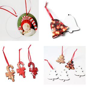 DHL100pcs circle heat Heat transfer printing Christmas pendant sublimation MDF Christmas ornaments pendant
