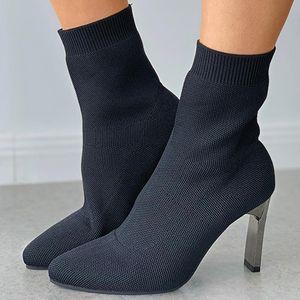 Çizmeler Kış Kadın Moda Rahat Çorap 2021 Yarasalar Dokuma Elastik Yüksek Topuk Stiletto