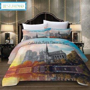 BEST.WENSD Federa Notre Dame De Paris AU, Stati Uniti, Unione europea, 240 * 220/200 * 200cm famosi edifici Bedclothes 2 / Quilt Cover Federe AJHF #