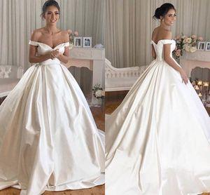 Simple Satin Ball Gown Wedding Dresses 2021 Off the Shoulder Chapel Train Princess Bridal Gowns Arabic Plus Size Vestidos De Novia AL8677