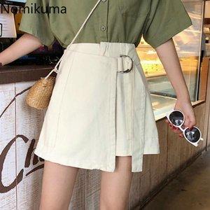 Nomikuma Yeni Varış Lace Up Yüksek Bel Şortlar Etekler Katı Renk Rahat Moda Düzensiz Kısa Pantolon Kadın Kore Tarzı 3B882