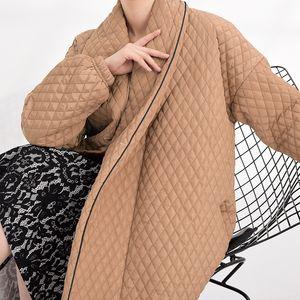 LANMREM Famale autumn winter long coat back many buttons loose fashion long sleeve cotton jacket new women parkas WTH120 201014