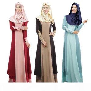 Women Muslim Dress 3 Colors Vintage Kaftan Abaya Patchwork Slim Long Sleeve Soft Maxi Islamic DK722MZ Free Shipping Dropshipping