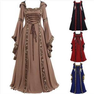 Ruffled Dresses Womens Vintage Celtic Medieval Floor Length Renaissance Gothic Cosplay Dress Ladies Elegant Dress 3s Drop Shipping