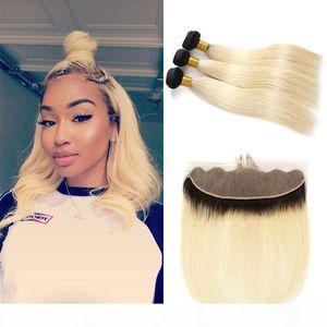 1В 613 Ombre Blonde Human Пучки волос с Фронтальной Бразильский Девы волос Straight 1B 613 Blonde 3Bundles с 13 * 4 Свободной частью шнурка фронтальными