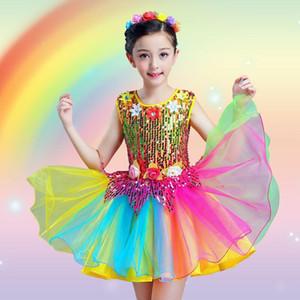Children Sequin costumes jazz dance boys and girls Sequin colorful performance clothing kids baledress ballroom dancewear