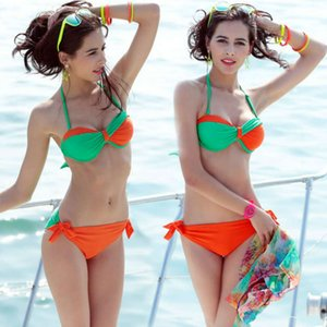 Xia Yan Mulheres Bikini Três Peça Malha Hot Spring Resort Swimsuit