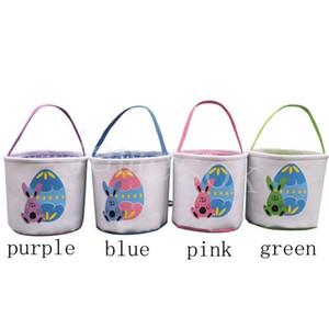 Easter Bucket DIY Basket Cute Bunny Basket Rabbit Cartoon Canvas Storage Bag Easter Gift Bag Egg Candy Totes DB420