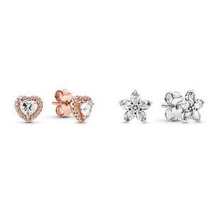 2021 hiver Nouveaux boucles d'oreilles de flocon de neige en forme de cœur étincelant, bijoux exquis haut de gamme pour femme un cadeau d'anniversaire de luxe