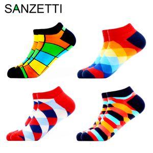 SANZETTI Men's Colorful Happy Funny Socks Brand Quality Combed Cotton Comfortable Socks Plaid Stripes Animal Fruit Pattern Socks 201012