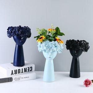 Statue mignonne fille vase long Vase ornements résine artisanat Figurines scandinave Vent Décoration créative Exquis Workmanship de haute qualité