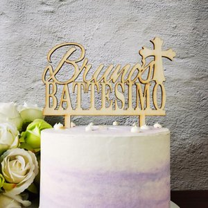 Personalized Cake Topper With Name, Cake Topper With Name Of Italy Battesimo And Cross, Battesimo Gift, Baby Shower