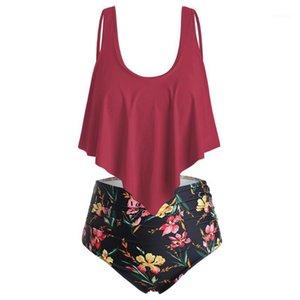 Wipalo Wort Floral Plus Size Hohe Taille Frauen Sets Sommer Strand Boho Swim Set 2 Stück Badeanzug Damen Urlaub Große Größe1