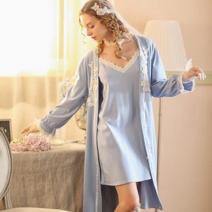 Bathrobe two-piece sexy sling nightdress female long-sleeve thickened home service suit simple pijamas women night gowns robes