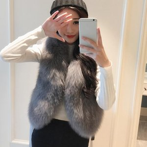 New Nice Winter Faux Fur Vest Coat Luxury Sleeveless V-neck Short Fur Cardigan Outwear Waistcoat Vest For Women Q6861