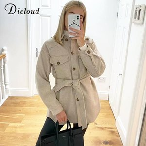 DICLOUD Winter Shirt Jacket Women Belted Long Oversized Coat With Pockets Fashion Knitted Outerwear Ladies Clothing 2020