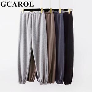 GCAROL nouvelles femmes Terry cotonnades en vrac Sarouel haute élastique Waisted Pantalon extensible surdimensionné GLISSE Pantalon 201022