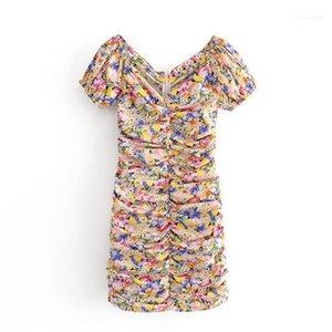 V-ausschnitt Kurzarm Mode Kleider Street Style Damen Kleidung Sommer Womens Designer Casual Dresses Flora Printed