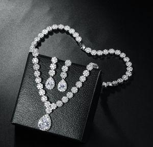 noble diamond crystal zircon wedding bride set necklace earings up-market 85cc