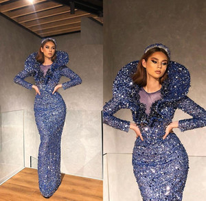 Elegant Yousef Aljasmi Sequined Long Sleeve Mermaid Evening Formal Dresses 2020 Evening Gowns Evening Wear robe de soiree Abendkleider