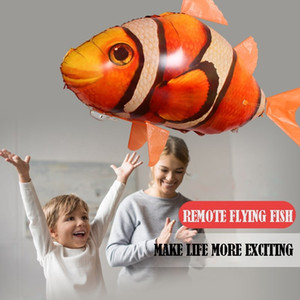 Remote Control Flying Shark Toy Clown Nemo Fish Balloons Inflatable Helium RC Air Plane Drone UFO with Light Best Christmas Gift Y200413