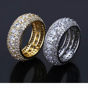 mens ring vintage hip hop jewelry Zircon iced out copper rings luxury gold silver plated Five row drill fashion Jewelry wholesale
