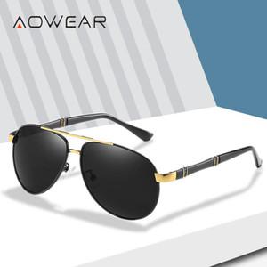 AOWEAR Havacılık Polarize Güneş Gözlüğü Erkekler Pilot Boy Polaroid Güneş Gözlükleri Erkek Vaka Gafas ile 2020 Retro Sürüş Gözlük