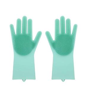 Gants en silicone avec pinceau réutilisable Disque en silicone de Silicone Gant de lavage Gants résistant à la chaleur Cuisine Outil de nettoyage de la cuisine HHAA614 28 N2