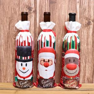 11 estilos Decoraciones de Navidad para el hogar Burlap Bordado Angel Muñeco de nieve Cubierta de la botella de vino Conjunto de la bolsa de regalo de Navidad Santa Saco BWB3158