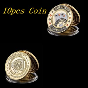10pcs Chip Poker Game Metal Poker Chip Guard Card Protector Coin National Pastime Gold Plated With Round Case Metal Craft Poker