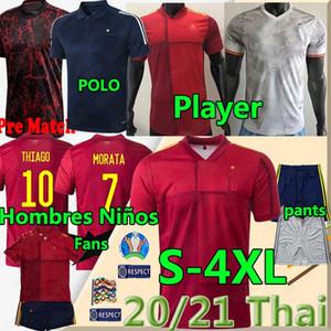 20 21 Spanien Fußballspieler Uniforme de Fútbol RAMOS THIAGO Ansu FATI A.INIESTA Hombres Niños Football-Shirts Uniformen Hosen Trikots Fans