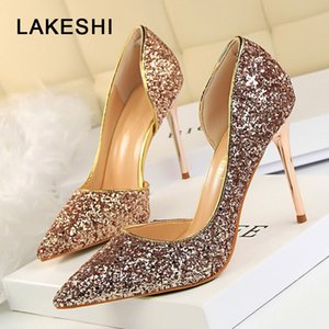 Pompe lakeshe Donne sexy estremi sexy tacchi sottili femminili femmina sliver oro sliver scarpe da donna y200702