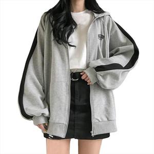 Women Sweatshirt Hoodies Harajuku Casual Pullover Fashion Female Side Stripe Long Sleeve Casual Loose Sweatshirts Zer
